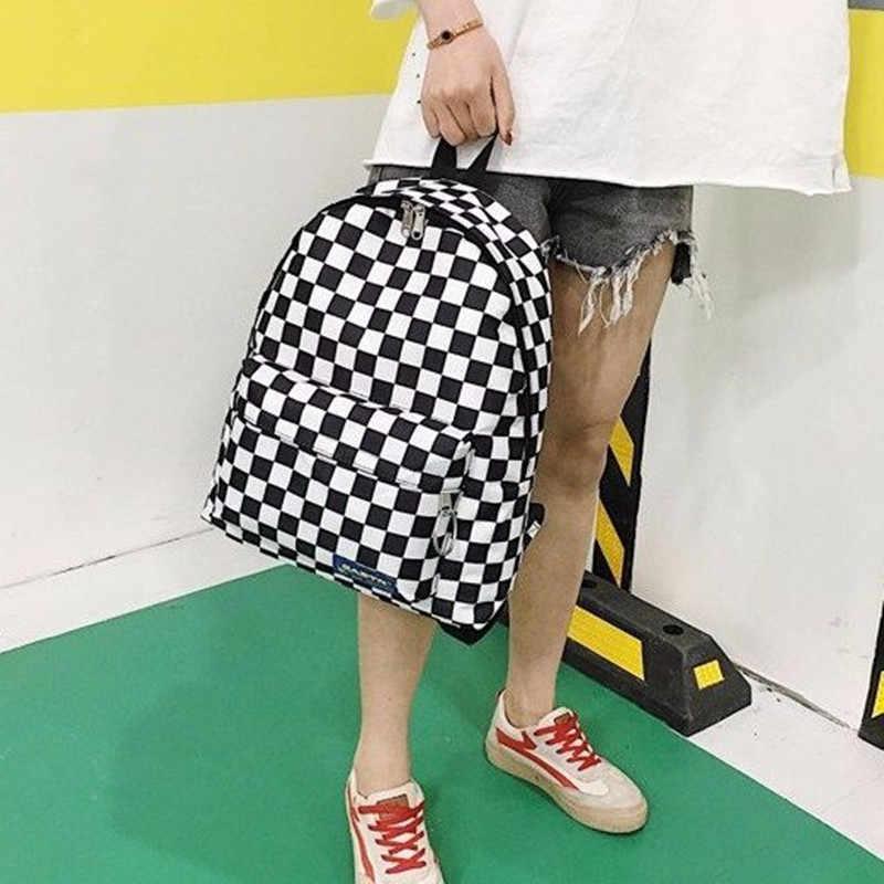 2019 Hot sprzedaż kobiety mężczyźni Unisex krata plecak nowy Trend szachownica nastolatek tornister pary plecak torba podróżna
