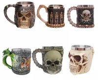 Wine Cup 3D Skull Cup Resin Double Layer Stainless Steel Mug Skull Bone Coffee Drinking Cup