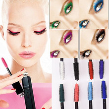 Brand Professional Eyes Makeup Waterproof Easy Remove Punk Blue White Red Black Purple Lengthen Eyelashes Color Mascara AM002