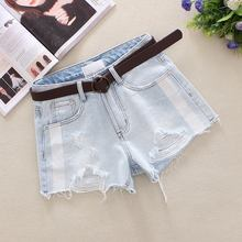 2019 Light Blue Womens Denim Shorts Summer Bleached Hole Washed Cotton High Waist Loose Broad Foot 9972