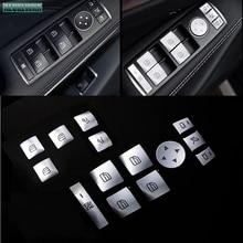 цена на For Mercedes-Benz GLA X156 CLA C117 GLK GLE CLS GL ML A B E-Class Car Inner Door Armrest Window Lift Button Cover Kit Trim LHD