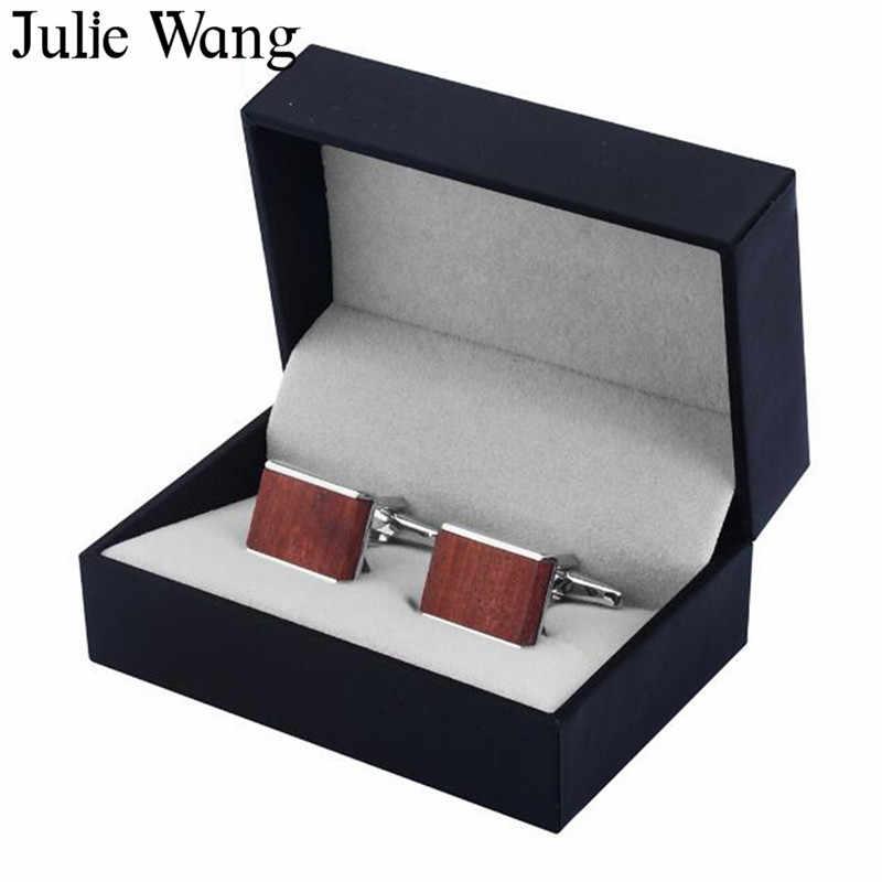Julie Wang 1 пара квадратные красные деревянные модные запонки мужские рубашки запонки высокого качества черные запонки Бизнес подарок
