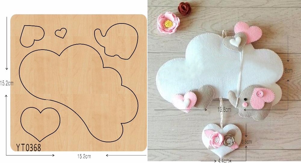 White clouds and small elephants wooden die YT0368 Scrapbook mold
