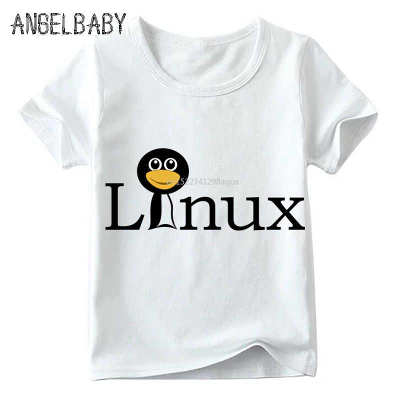 Garçons et filles le pingouin LINUX imprimer t-shirt drôle enfants d'été à manches courtes hauts blancs enfants T-shirt style décontracté, ooo800