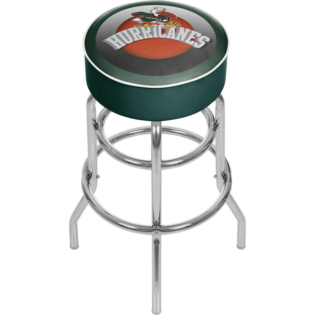 University of Miami Sebastian Chrome Bar Stool with Swivel - Honeycomb