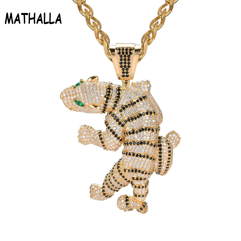 More Than 1200pcs AAA Cubic Zirconia Iced Out Stone Fierce Anger Tiger Hiphop Micro Paved Pendant with Cuban Chain