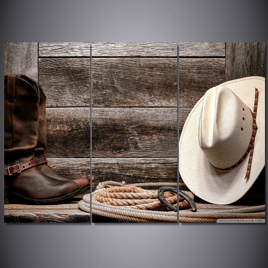 Drop Shipping 3 Pieces Straw hat and boots cowboy Painting Canvas ... 32f77f3c53f