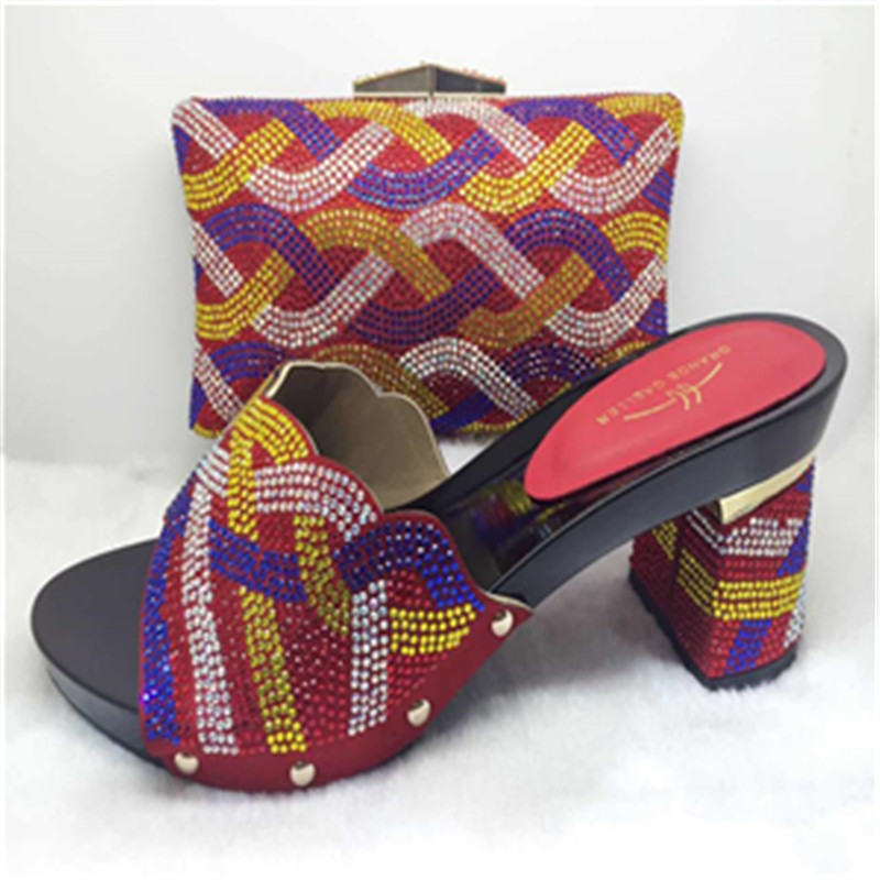 ФОТО African shoes and matching bags Italian Red popular design women Italian matching shoe and bags 2017 shoe and matching bag TH12