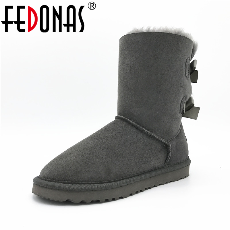 FEDONAS Women Boots Fashion 100% Sheepskin Mid-calf Snow Boots Warm Winter Bowknot Sheep Fur Boots Flats Genuine Leather Shoes muhuisen winter men genuine leather shoes fashion casual plush warm boots lace up flats male snow boots fur inside comfort