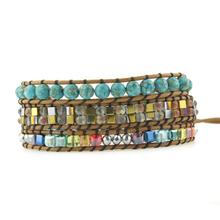 3 Strands Natural Stone Bead Handmade Leather Bracelet Wrap Boho Unique Cube Shape