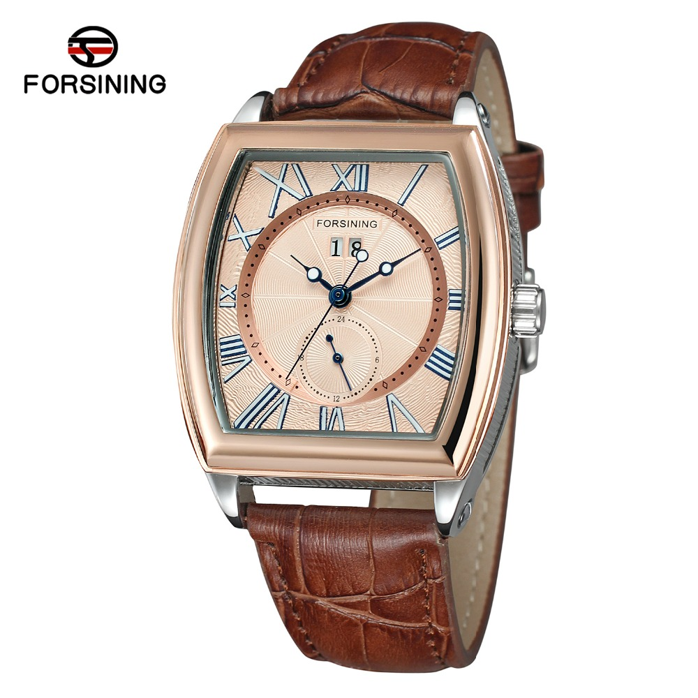 FORSINING Men s New Design Tonneau Shape Trendy Automatic Selfw winding Popular Watch with Genuine Leather