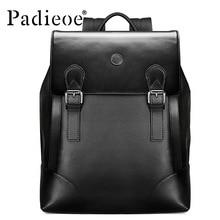 Padieoe Fashion Men Backpack Waterproof Genuine Leather Casual Travel Beach Bag Laptop Backpack Teenagers School Bags Free Ship