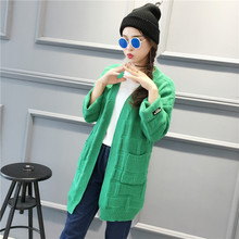 2018 autumn winter Green Long Women's Kimono Cardigan Loose Pocket Oversized Shrugs knitted Sweater Coat For Women