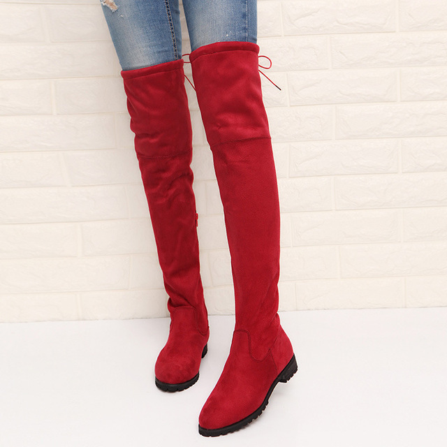 2017 Slim Boots Sexy Over The Knee High Suede Women Snow Boots Women's Fashion Winter Thigh High Boots Shoes Woman 4
