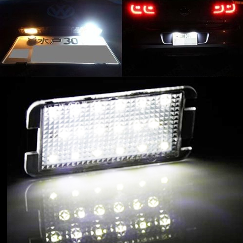 car-styling 2x LED tail number plate light For Seat Altea Arosa Ibiza Cordoba Leon Toledo NO Error with canbus canbus 18 led license plate light car number plate lamp for seat altea arosa ibiza 97 08 cordoba 93 08 leon 99 05 toledo iii