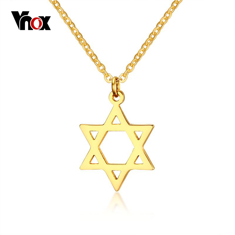 Vnox magen star of david pendant necklace women gold color for Star of david jewelry wholesale