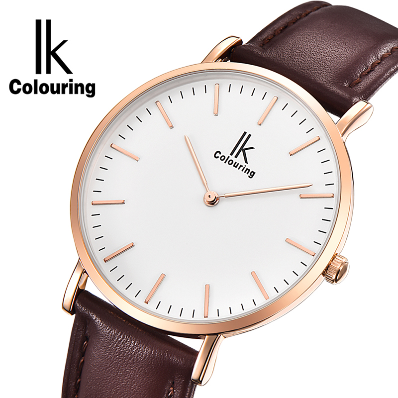 IK Colouring Ultra Thin Minimalist Mens Watches Top Brand Luxury Genuine Leather Strap Fashion Casual Quartz Watch Business Man