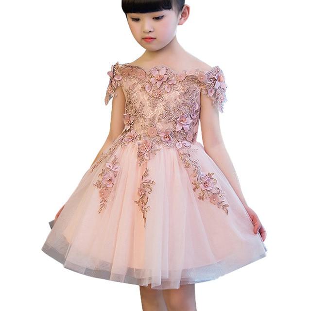 Elegant Girls Wedding Dress Tutu Flower Girl Costume Short Sleeve Long Age 1 2 3