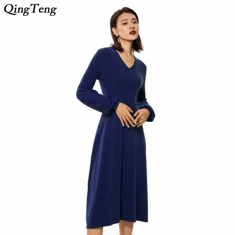 Women Casual Knitted Dress Autumn Winter Bow Belted Elegant Long Sweater Dress Wool Cashmere Ribbed V Neck Pleated Dress Sexy