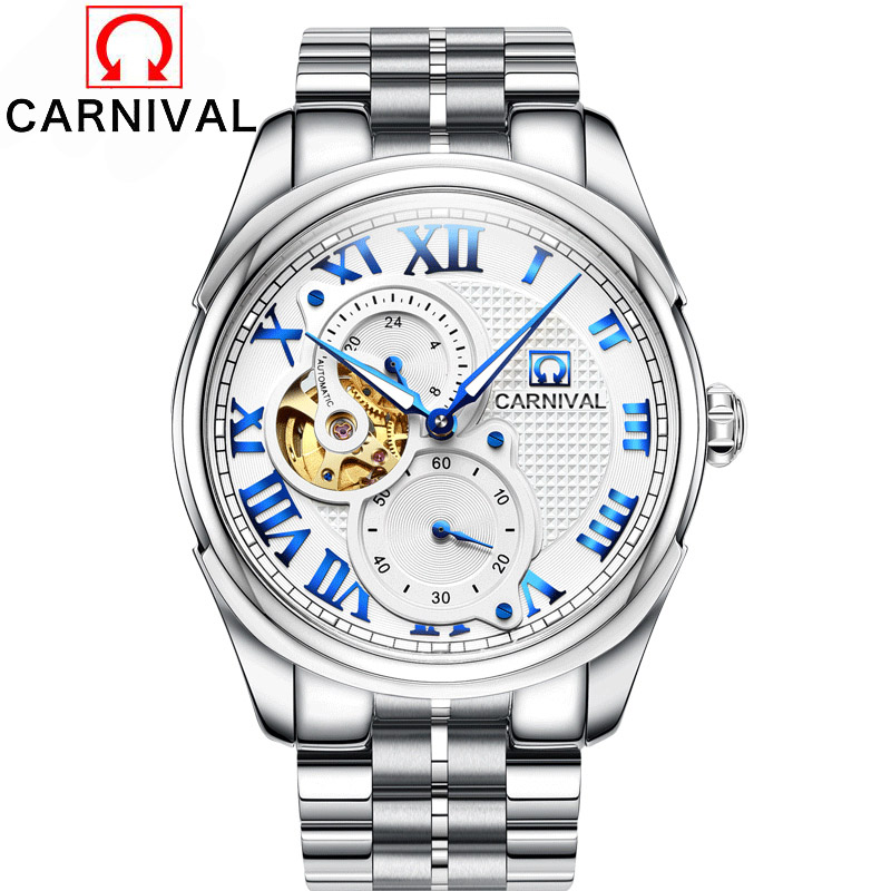 Carnival Men Watches Luxury Brand Automatical Mechanical Watch Male Waterproof Sports Military Clock 361 Stainless Steel Strap automatical mechanical watches men luxury brand watch male clock leather wristwatch men skeleton casual business gold watch