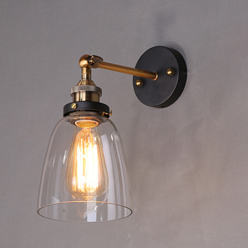 Loft Vintage Industrial Edison Wall lamps Clear Glass Wall Sconce Warehouse Wall Light Fixtures E27 110V/220V Bedside Lighting wholesale price loft vintage industrial edison wall lamps clear glass lampshade antique copper wall lights 110v 220v for bedroom page 4 page 5