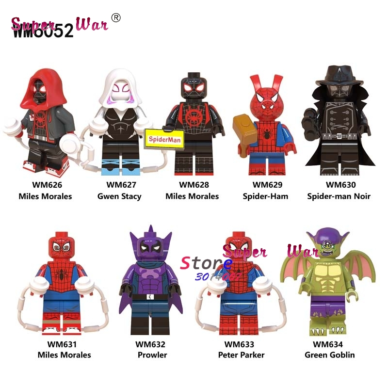Single Marvel Movie Spiderman Into Spider Verse Spider-Ham  Miles Morales Prowler  Building Blocks Toys For Children