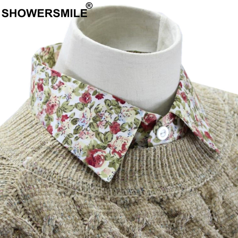 SHOWERSMILE Floral Fake Collar With Sweaters Cotton Women Sweet Print Peaked Lapel Detachable Collar Fashion Girls False Collars