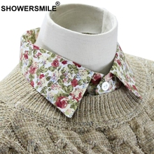 SHOWERSMILE цветочные поддельные воротник свитера хлопка женщин сладкий печати с остроугольными лацканами съемная девочек мода ложные ошейники