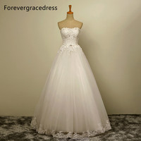 Forevergracedress New Design A Line Long Wedding Dress Sweetheart Tulle Sleeveless With Lace Up Back Bridal