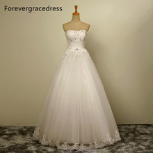 Forevergracedress New Design A Line Long Wedding Dress Sweetheart Tulle Sleeveless With Lace Up Back Bridal Gown Plus Size
