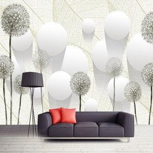Custom Photo Wall Paper 3D Stereoscopic Dandelion Flower Circle Ball Living Room TV Background Mural Wallpaper Modern Home Decor
