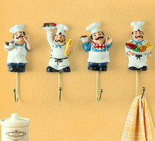 2015 new French chef wall hangings creative hook coat hooks set