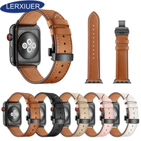 Leather Strap For Apple watch band 4 3 42mm 38mm iWatchband 44mm 40mm Genuine Leather Wristband Bracelet Watchband black brown