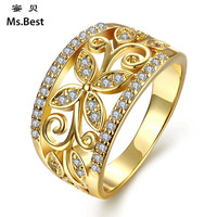 Statement Cz Diamond Engagement Rings For Women Copper In Fine Gold Plated Fashion Jewelry Best Seller