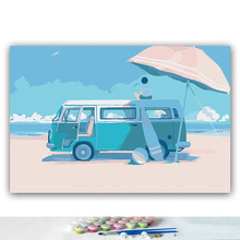 DIY colorings pictures by numbers with colors Blue ocean view illustration picture drawing painting by numbers framed Home цена и фото
