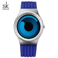 SK Trend Unique Design Sports Mens Quartz Watch Luxury Blue Silicone Strap Waterproof Wristwatch For Man