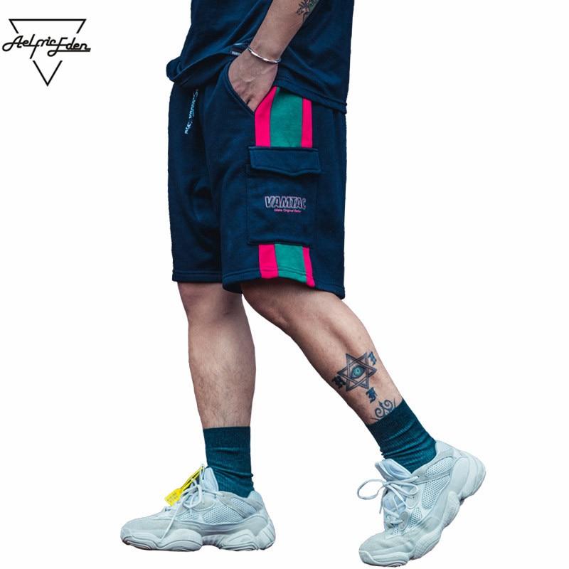 Aelfric Eden Men Shorts 2018 Cotton Casual Streetwear Patchwork Sweatpants Hip Hop Summer Short Joggers Male Cargo Shorts Mt02