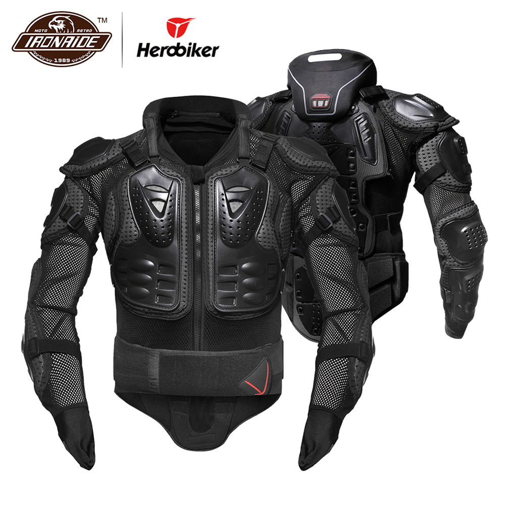 HEROBIKER Motorcycle Armor Removable Neck Protection Guards Motorcycle Jacket Racing Protective Gear Full Body Armor Protectors herobiker motorcycle jacket body armor motocross protective gear motocross off road racing vest moto armor vest black and white