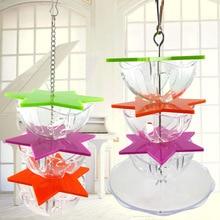 Креативный попугай грызет игрушки акриловый материал шестиугольная форма звезды кормушка многослойная миска для еды устройство