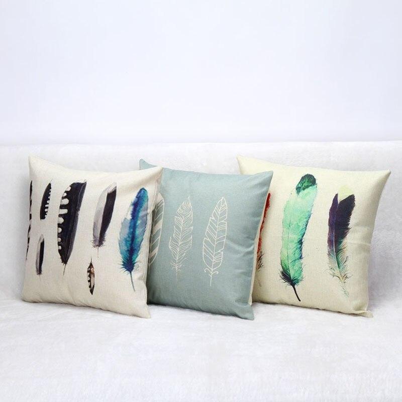 ᓂColoré Art Imprimer Plume Taie D oreiller En Coton Lin Housse de ... c89ddbceac86