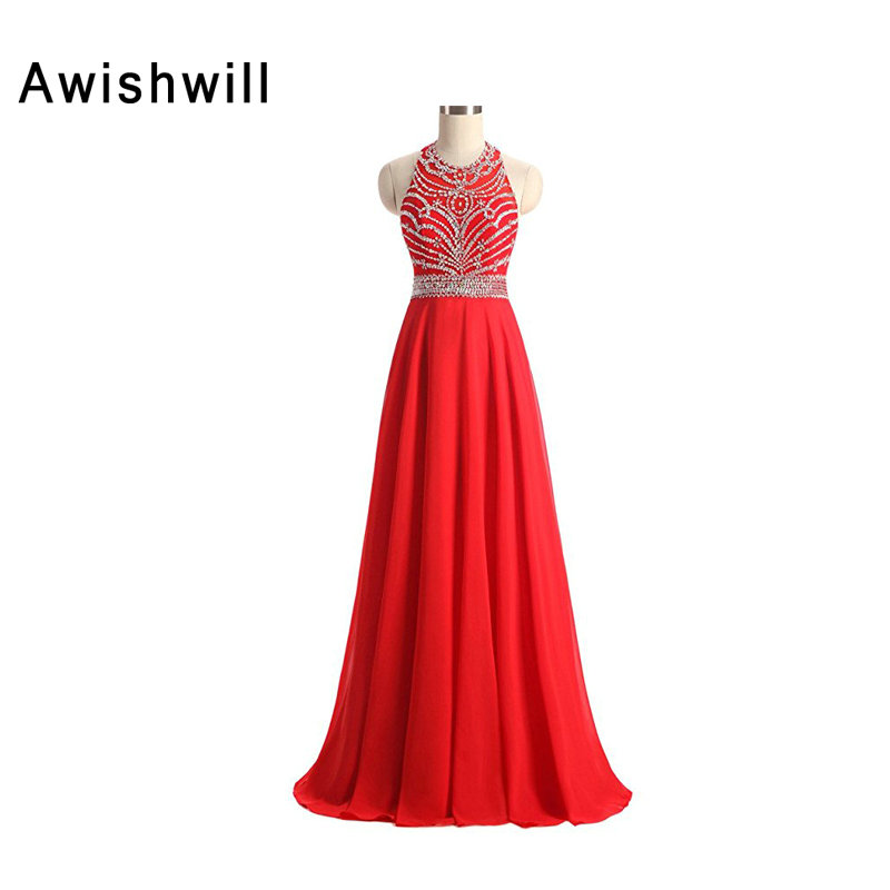 Red Formal Evening Gowns Dresses Beadings Chiffon Sleeveless New Arrival 2019 Long Prom Dress Occasion Wedding Night Dress