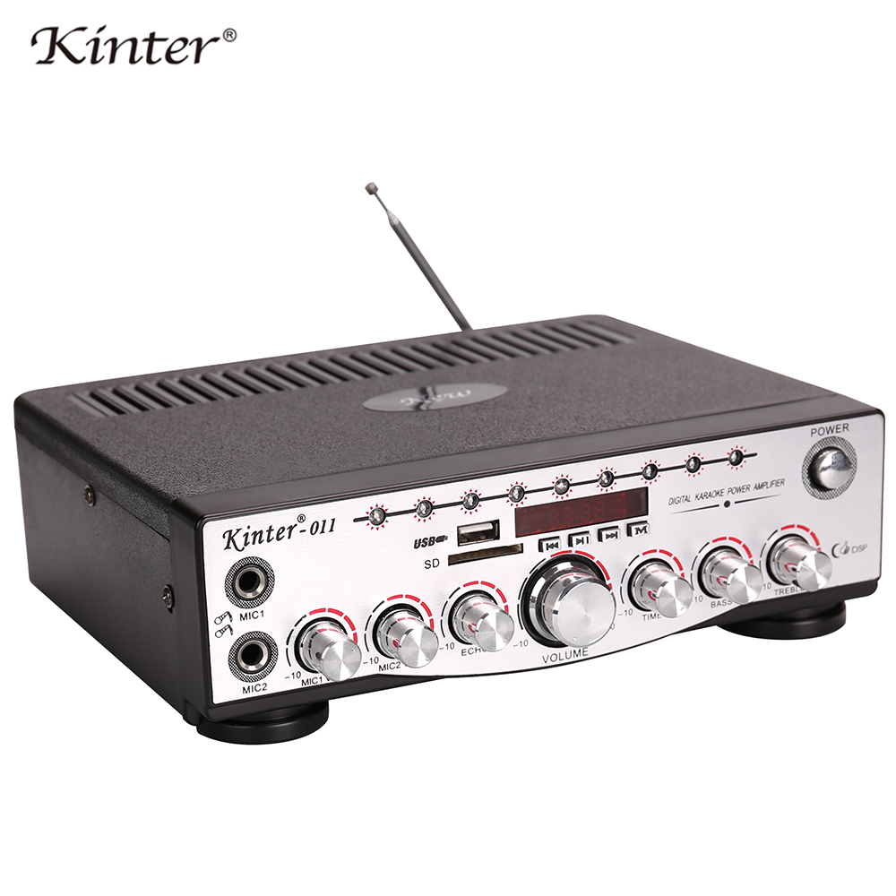 Kinter-011 Amplifier audio hifi stereo sound 2channel supply power AC110V DC12V offer USB SD AUX Mic input FM antenna цена