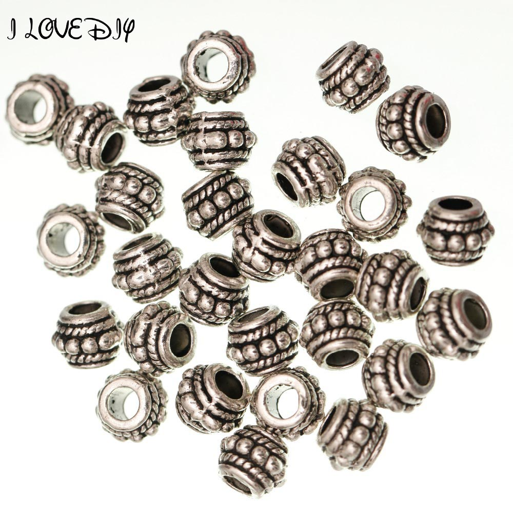 Wholesale Metal Antique Gold Silver Tibetan Spacer Beads Hole 4mm for Jewelry Making Bracelet
