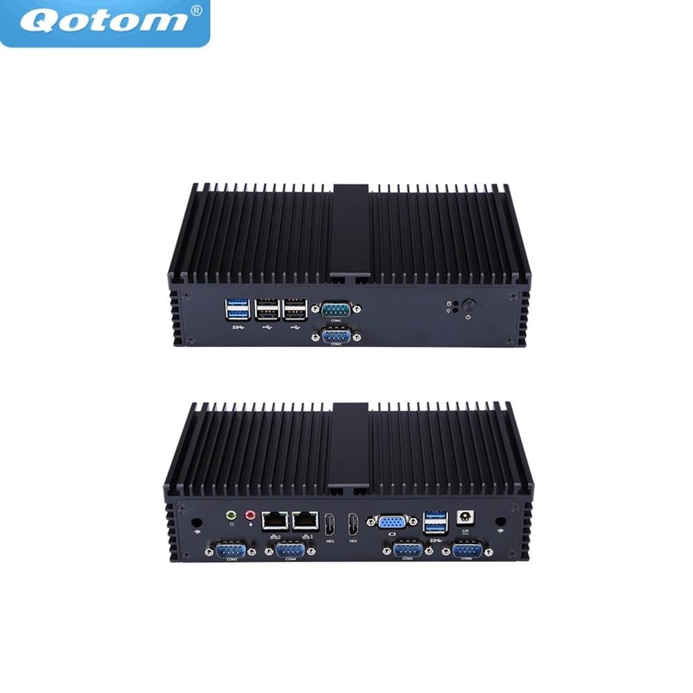 Qotom Mini PC Q555X 7th I5-7200U Industrial Computer 7/24 Hours Working RS485 RS232 2 Lan 8 USB POS Desktop