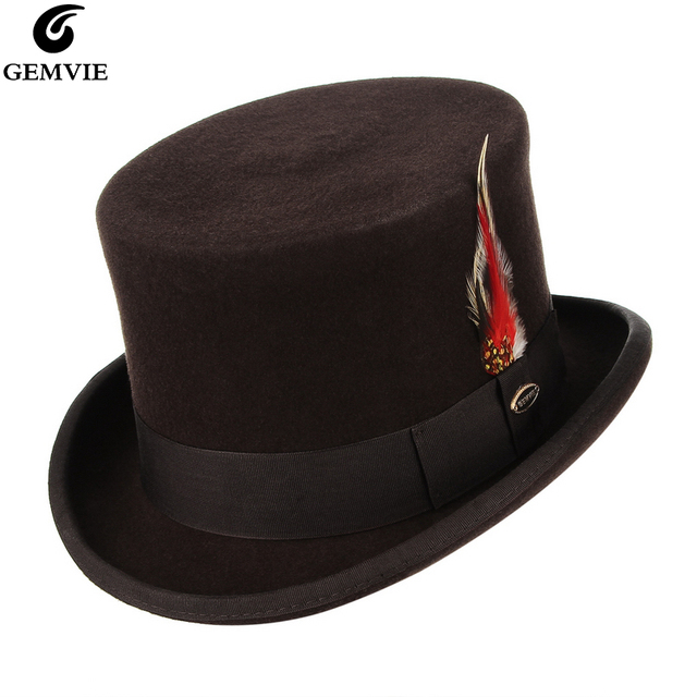 07a08112c284 GEMVIE Brand High 100% Wool Felt Top Hat With Feather Cylinder Hat For  Women Men