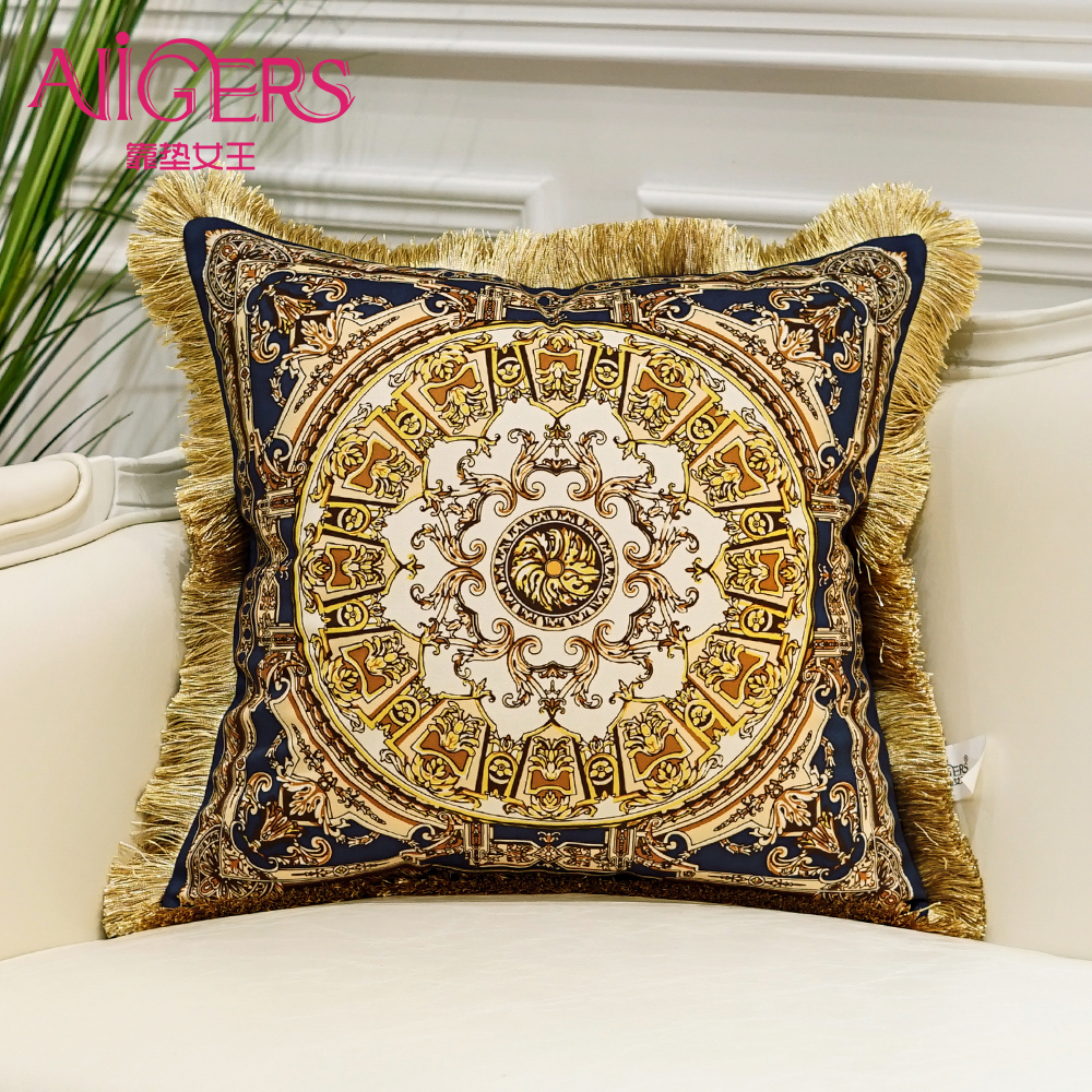 Avigers Luxurious Cushion Printing Tassel Velvet Throw Pillow Core Home Decorative European Design Srusader Sofa Bedroom Pillow