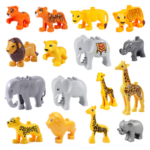 Big Building Blocks Animals Model giraffe Series Educational DIY Accessory Toys For Children Gift Compatible With Duploed bricks цены