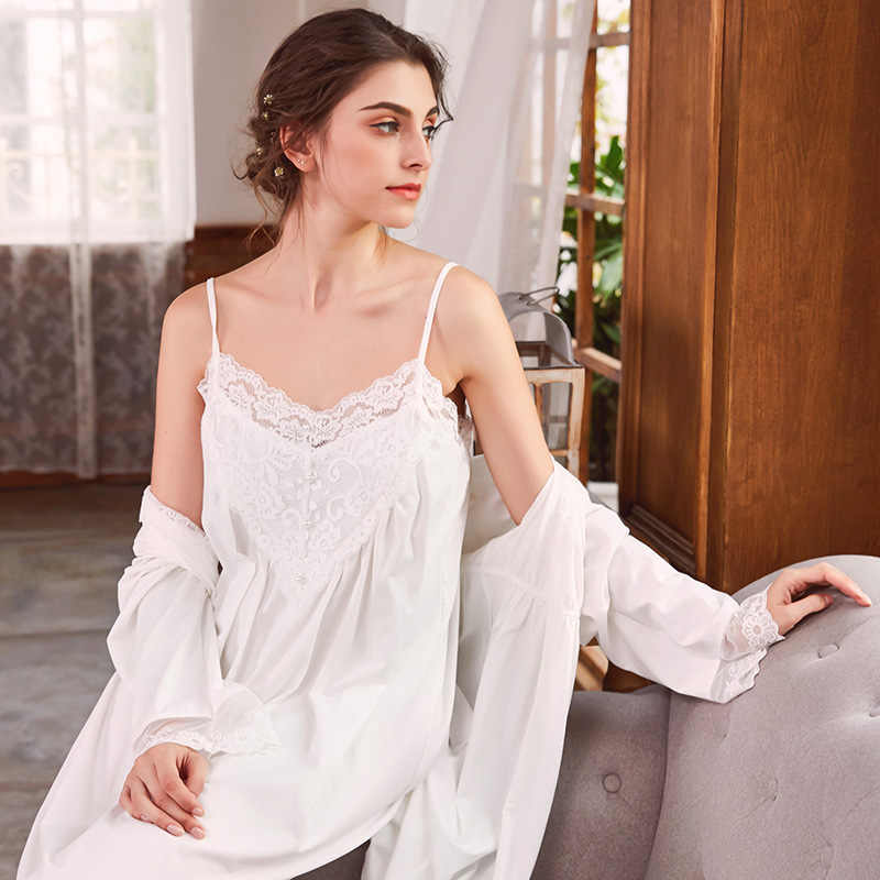 c3098838a40f6 Pregnant Women Long Sleeve Cotton Sleepwear Nightgown Set Sexy Robe  Nightdress Two Piece Lace Maternity Lady