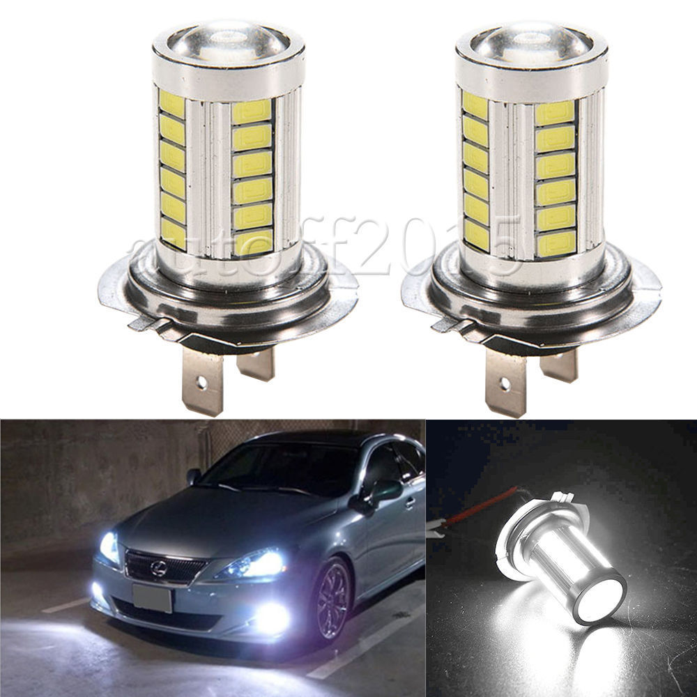 2PCS H7 33 SMD 5630  Led Car Turn Brake DRL Driving Lamp  Auto Rear Reverse Bulbs Orange White Blue Brake Light Tail Light