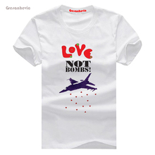 Love Not Bombs New Fashion Man T-Shirt Cotton O Neck Mens Short Sleeve Mens tshirt Male Tops Tees Wholesale